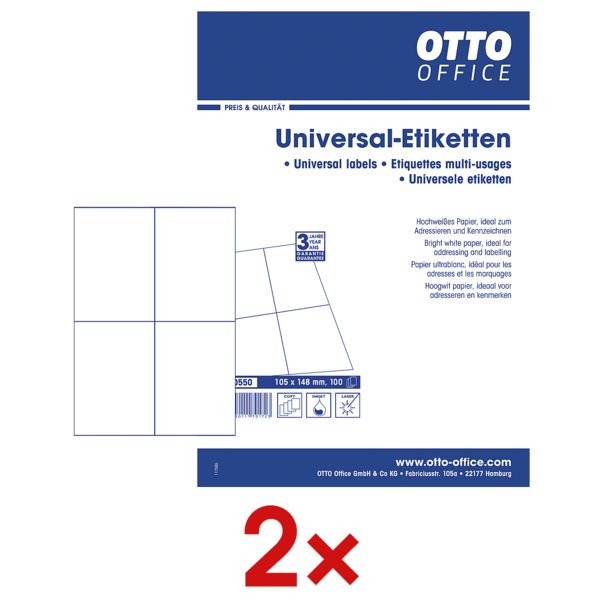 OTTO Office 2x pak met 100 bladen à 4 universele etiketten