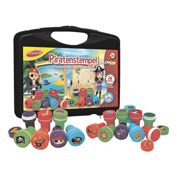 Joustra Piratenstempels 26 stuks in kunststof koffer