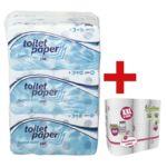 Papier toilette triple épaisseur - 72 rouleaux avec 6 rouleaux d'essuie-tout en « Grand paquet » XXL