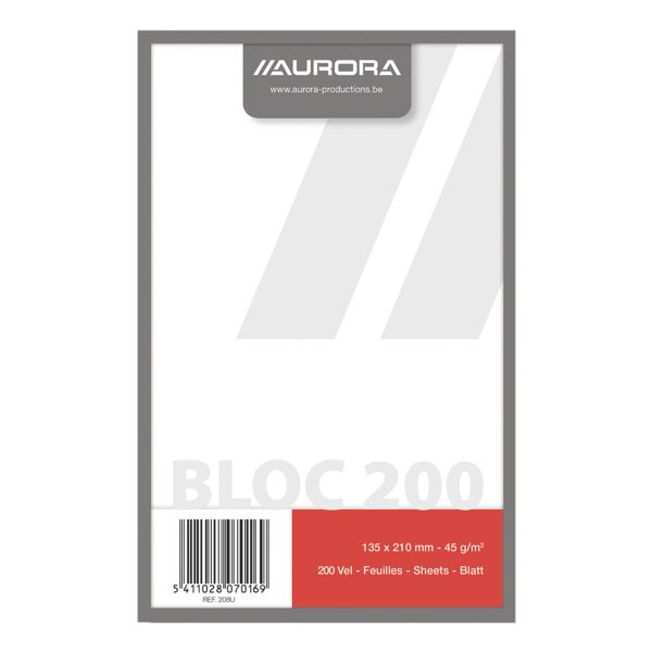 Aurora bloc-notes bloc-notes, format spécial, neutre, 200 feuille(s)