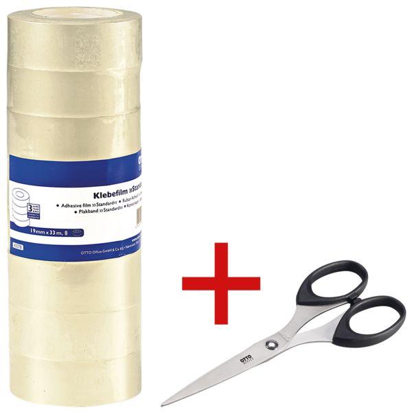 OTTO Office ruban adhésif Standard, transparent, 8 pièce(s) avec Ciseaux 15 cm