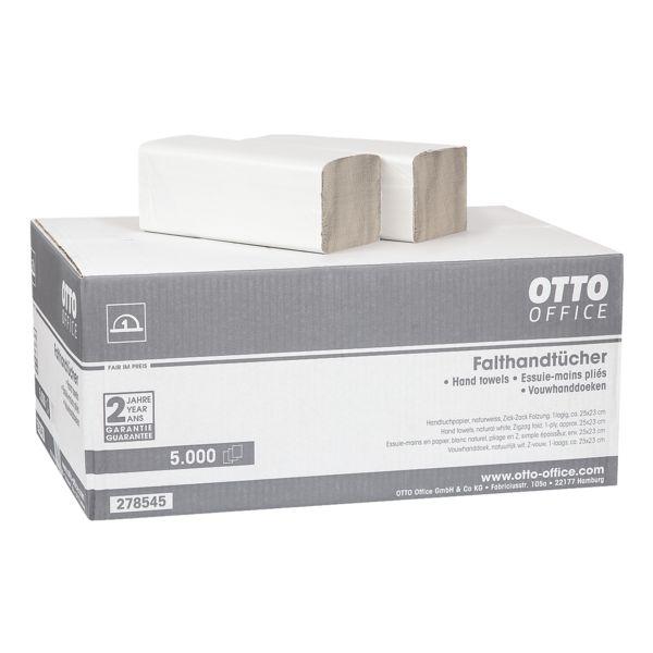 Essuie-mains en papier OTTO Office Budget Budget simple épaisseur, blanc nature, 25 cm x 23 cm de Papier recyclé avec pliage en Z - 5000 feuilles au total