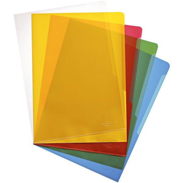 Durable Paquet de 100 pochettes transparentes A4 colorées grainées « 2337 » (5 couleurs de 20 pièces chacune)