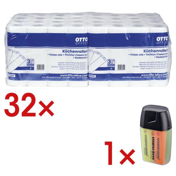 OTTO Office 32 rouleaux d'essuie-tout triple épaisseur (8 paquets à 4 rouleaux) avec boîte de 4 surligneurs « BOSS® Original »