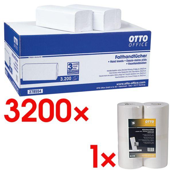Essuie-mains en papier OTTO Office 2 épaisseurs, blanc nature, 25 cm x 23 cm de Ouate de cellulose avec pliage en Z - 3200 feuilles au total avec Rouleaux d'essuie-tout 1 épaisseur non tissé, 2 rouleaux